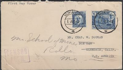 1942 First Day Cover FDC Aden Qu'aiti State of Shihr and Mukalla to USA [bl0231]