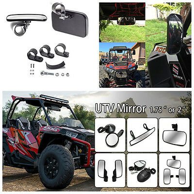 """Newest UTV Clear Rear View Center Mirror- ABS Housing With Adjustable 1.5-2"""" Kit"""
