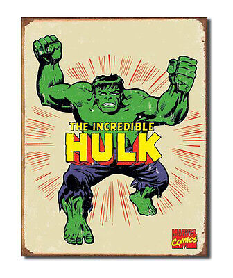 Marvel Comics A3 Retro Tin Metal Sign The Incredible HULK 41x32cm Aged Licensed