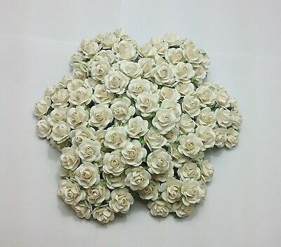 100 White Mulberry Paper Roses Flowers Wedding Floral Crafts Bridal Party Decor