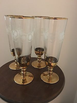 Retro/Vintage Glass Champagne Flutes Heaverly Gold Gilt