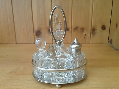 Vintage Glass Cruet Set On A Silver Plated Stand