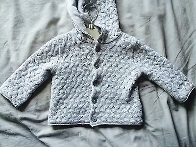 Mamas Papas Boys/girls New Grey Knitted Cardigan Age 3-6 Months
