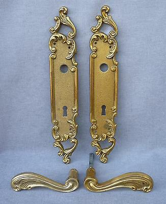 Antique french door handles set, knob mid- 1900's brass mansion castle