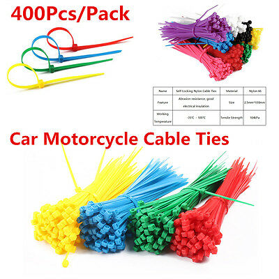 400Pcs/Pack 150mm Car Motorcycle Cable Wire Fastener Self-Locking Nylon Zip Ties