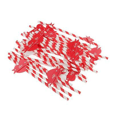 28x Red White Stripes Straw with Heart Disposable for Wedding Birthday Decor