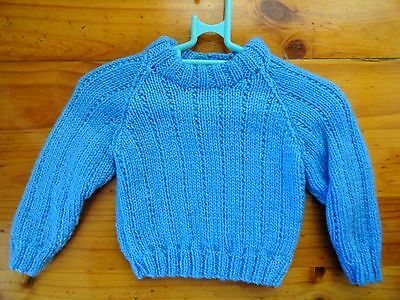 Baby Hand Knitted Boys Jumper In Med Blue... Chest 46Cm