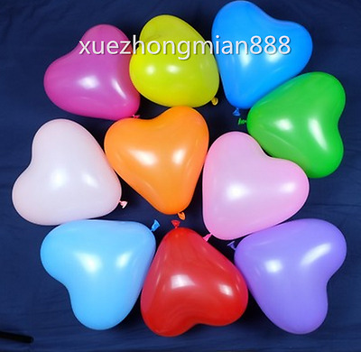 100pcs Colorful Heart Shaped Latex Balloons Wedding Birthday Party Decor Crafts