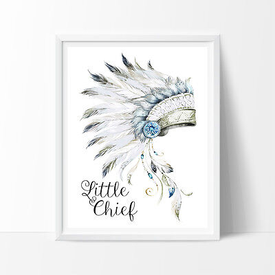 Tribal Little Chief Bedroom Print, Nursery room decor, Kids Wall Decor,