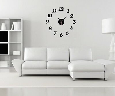 Modern Large DIY Wall Clock 3D Mirror Surface Sticker Home Decor Art Design Tool