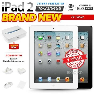 New & Sealed Box APPLE iPad 2nd Gen Black White 16 32 64GB PC Tablet (WiFi Only)
