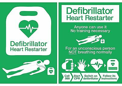 AED Defibrillator Location & Instructions Posters Signs Stickers *Updated 2017*