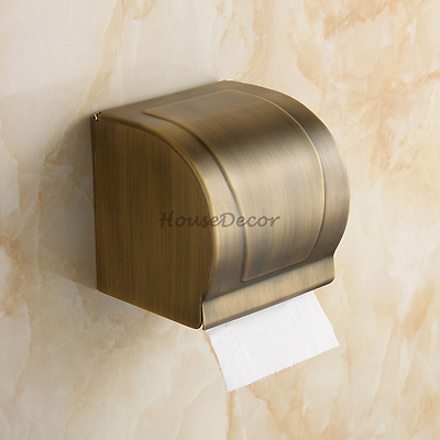 Vintage Style Bathroom Wall Mount Toilet Roll Paper Holder Tissue Box with Cover