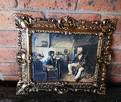 BEAUTIFUL REPOUSSEE FRAMED ART-Antique Scene Vintage Collectable
