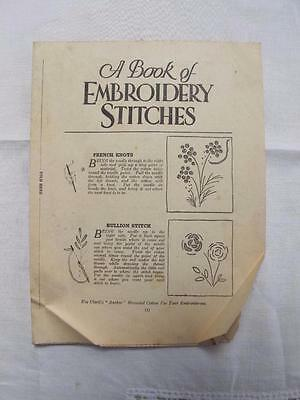 """Vintage 1920's """"A Book of Embroidery Stitches"""" Leaflet"""