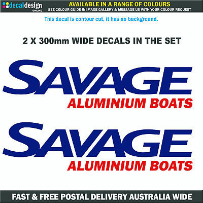 Savage Boats Decal 33cm Pair as picture relacement boat tinny fishing stickers