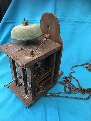 Old Wooden  Longcase Clock Movement With Bell Ringer    # 21
