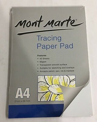 Tracing Paper A4 Mont Marte 40 Sheets 60gsm Sketching Overlays Transparent Pad