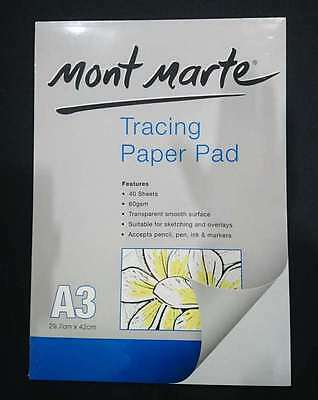 Tracing Paper A3 Mont Marte 40 Sheets 60gsm Sketching Overlays Transparent Pad