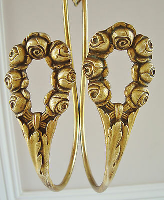 Pair Antique French Bronze Tie Back Hooks Hold Backs Garland Of Roses