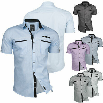 Freizeithemd Festlich Trisens Herren Hemd Sommer Cotton Kurzarm Slim-Fit Party