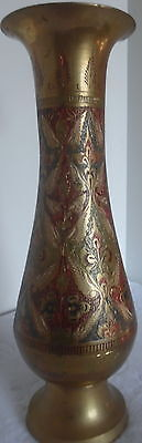Brass Painted Vase Vintage India Hand Etched Tall