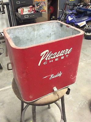 Vintage Pleasure Chest Red Metal Ice Chest / Cooler buddy