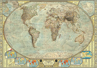 Highly Detailed Vintage World Map Large Poster Art Print - A0 A1 A2 A3 A4