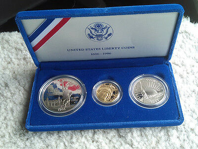 1986 Statue of Liberty 3 coin Proof Set * $5 Gold $1 Silver  Complete FREE SHIP
