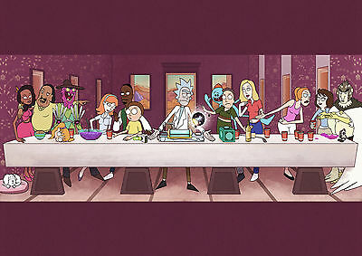 Rick and Morty Last Supper Large Poster Art Print - A0 A1 A2 A3 A4