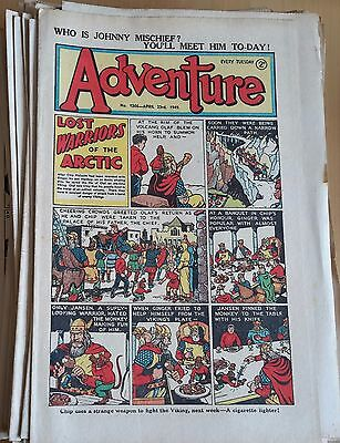 Amazing run of DC Thomson ADVENTURE comic 122 copies 1948 through to 1951