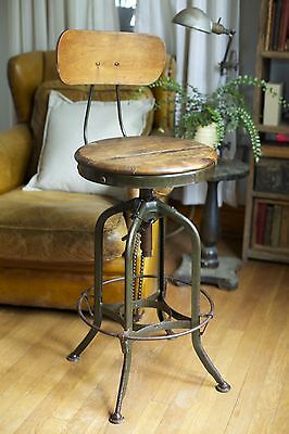 Antique VTG 1930s Industrial Toledo Uhl Steel Adjustable Chair Stool Factory Old