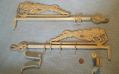 Swing Arm Curtain Rods Holders Brackets Complete Vintage Shappy Chic