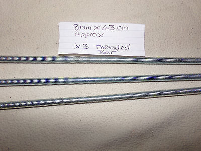 threaded bar 8mm x 43cm approx  x 3 (new)