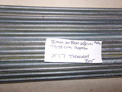 threaded bar 8mm x from 45 1/2 cm to 58cm approx x 17  (new)