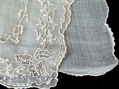 Antique HAND EMBROIDERED DRAWN LACE ~HONEY~ For HONEY POT TEA TIME