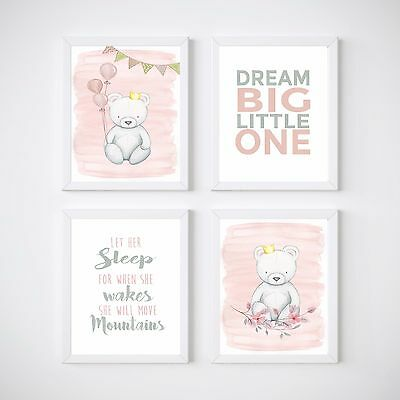 4 Print Set Teddy Bear Nursery Room Prints, Kids wall decor,