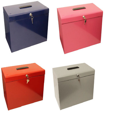 A4 Metal File Filing Box Home Office Storage Lockable *5 Free Suspension Files*