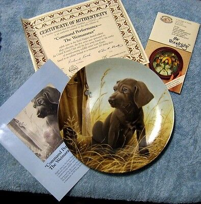The Weimaraner Plate- By Knowles. Field Puppies limited-edition. #7907A