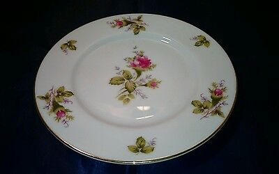 """1 Vintage FLORAL PARK Moss Rose Bread Roll Plate China royal rose 6.25"""""""