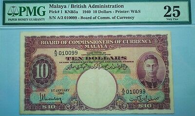 Malaya British Board of Commissioner of Currency $10 1940 RARE year PMG 25