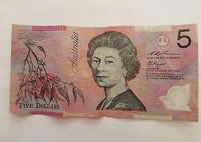 5 Dollar Bill Australia Good Condition Polymer Security Feature