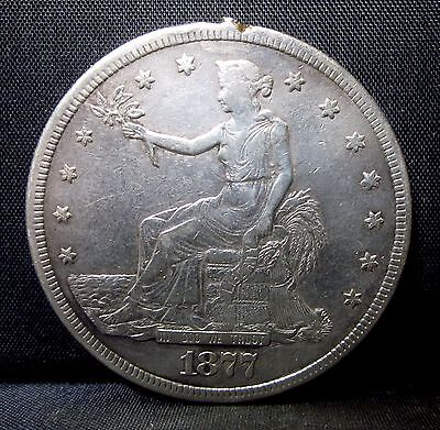 1877-S $1 Trade Dollar ✪ Vf Very Fine Details ✪ L@@k Now Damaged ◢Trusted◣