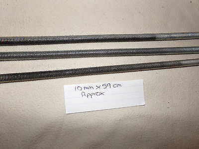 threaded bar 10mm x  59cm approx x 3 (new )