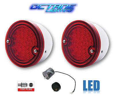 60-66 Chevy Truck LED Tail Light Lamp Lens w/ Stainless Housing & Flasher Pair