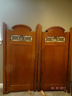 "Beautiful Oak Antique Stained Glass Swinging Pharmacy Doors ""Huscher Drug Store"""
