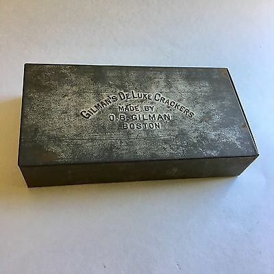 Antique Vintage Tin Box Gilman's Deluxe Crackers Boston