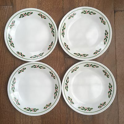 Corelle Winter Holly Green Band Black Vein Bread and Butter Plate set of 4