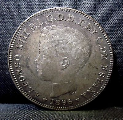 1896 Puerto Rico 40 Centavos ✪ Au Almost Uncirculated ✪ Original L@@k ◢Trusted◣