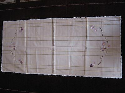 Vintage Peach Runner Doily w/ Hand Embroidered Purple Flowers 18 x 40